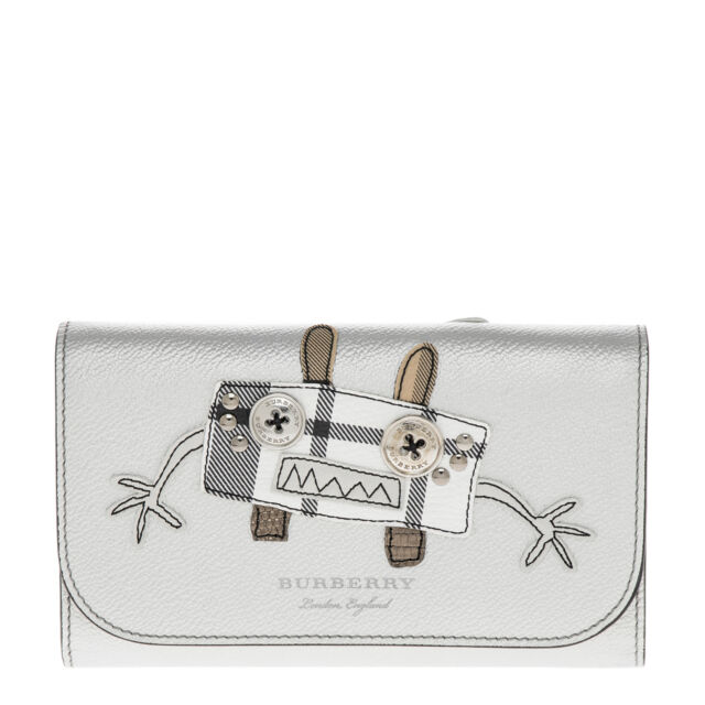 tartán de con Cartera para Applique de cadena de de cuero Burberry mujer plata nBBqY40r
