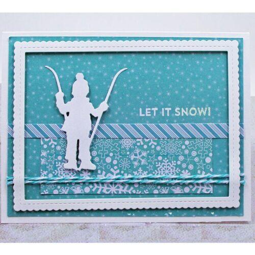 Boy Girl Ski Child Winter Metal Cutting Dies For DIY Scrapbooking Cards Crafts