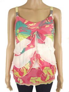 M-amp-S-Per-Una-Floral-Strappy-Chiffon-Floaty-Frill-Cami-Marks-amp-Spencer-Summer-Top