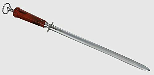 """14/"""" High Carbon Honing//Sharpening Steel With Red Handle Diamond Grain Coating"""