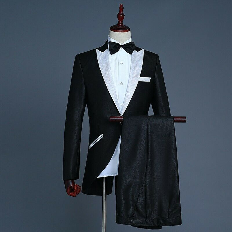 Formal Mens Emcee Wedding Singer Magic Show Swallow-tailed  Coat Pant Suit Solid