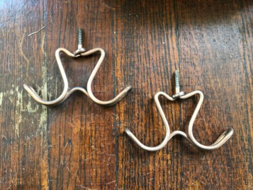 30 NOS 1930s Sargent Co Copper Steel Wire Double Hooks Antique Closet Hardware