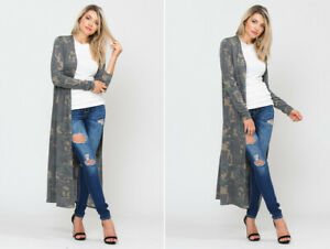 Women-039-s-Long-Maxi-Camouflage-Kimono-Cardigan-Loose-Duster-Olive-Green-Camo-Army
