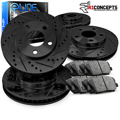 For 2013 Honda Accord Front eLine Black Drilled Brake Rotors+Ceramic Brake Pads