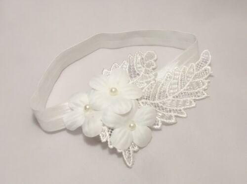 Baby Girl Off White Christening Headband Baptism Wedding Flower Pearl Hairband