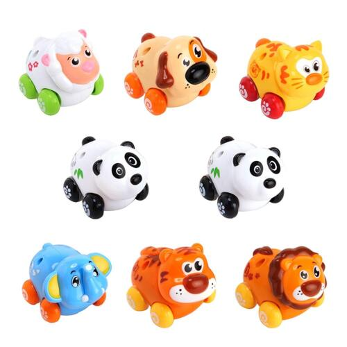 Huile Push /& Go Toy Friction Powered Cartoon Animals Toy Cars Set for Toddlers