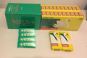 600 RIZLA GREEN ROLLING PAPERS & 600 SWAN EXTRA SLIM FILTER TIPS ORIGINAL
