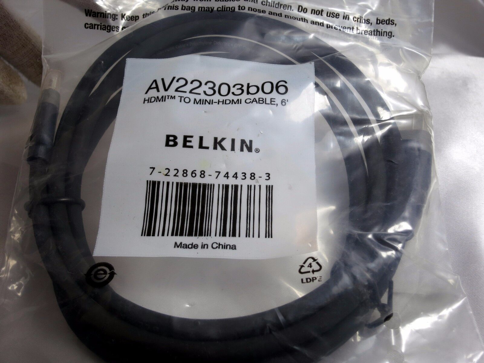 Belkin HDMI to mini-HDMI Cable 6' long ( Type C to A) AV22303B06 TV Camcorder PC