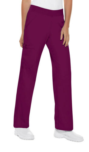 Wine Cherokee Flexibles Mid Rise Knit Waist Pull On Scrub Pants 2085 WNEB