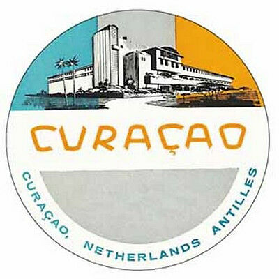 Vintage Style  Travel Decal Sticker luggage label Curacao Caribbean