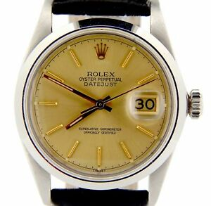 Rolex-Datejust-Mens-Stainless-Steel-Champagne-Dial-amp-Black-Leather-Watch-16030