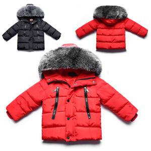 91975082a Baby Boys Girls Snowsuit Winter Warm Fur Collar Hooded Down Jacket ...
