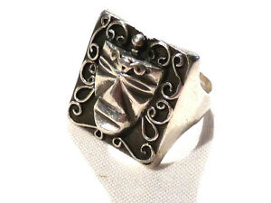Bijou-argent-925-bague-masque-africain-taille-59-ring
