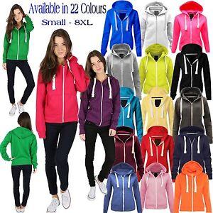 Ladies Girl NEW PLUS SIZE Zip Up Sweatshirt Hooded Hoodie Coat Jacket Top 6-30
