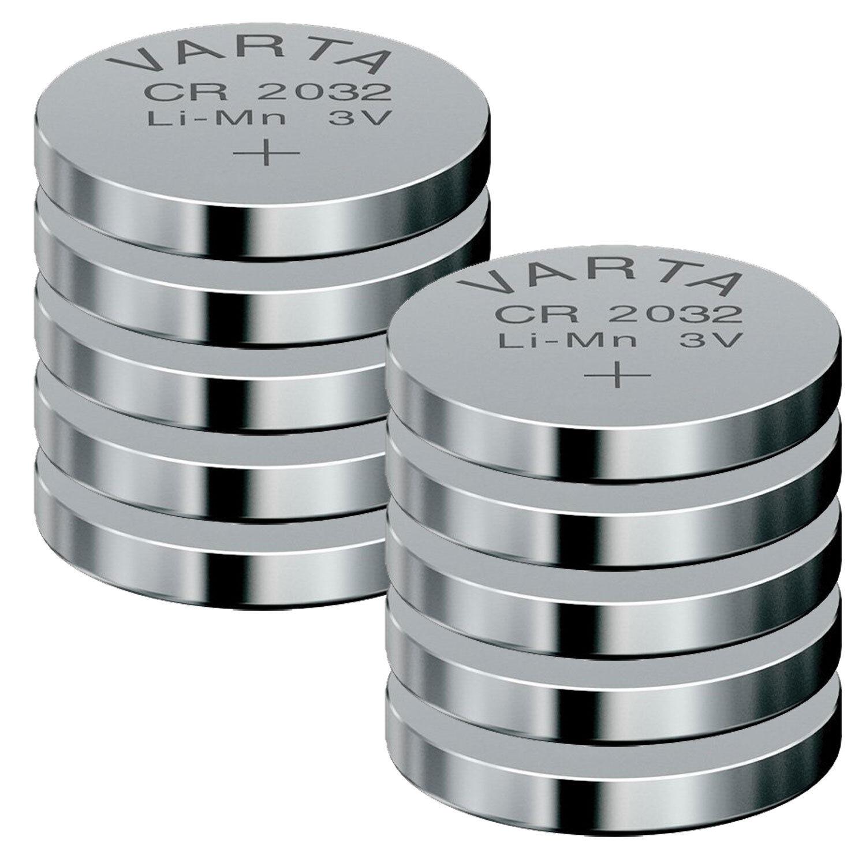 10 x Varta CR2032 Lithium Knopfzellen CR 2032 Batterie 230 mAh 3V Kamera
