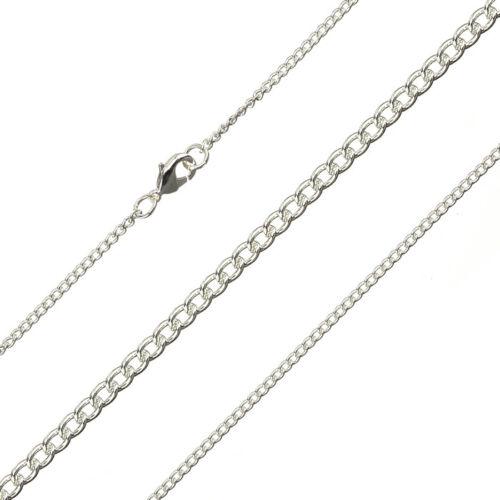"""0.5 mm cadena Curva Fina acabado chapado en plata 1.8 mm 15.5/"""" G94//15"""