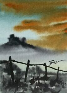 ACEO-ATC-original-art-miniature-painting-Castle-on-the-Hill-by-Bill-Lupton