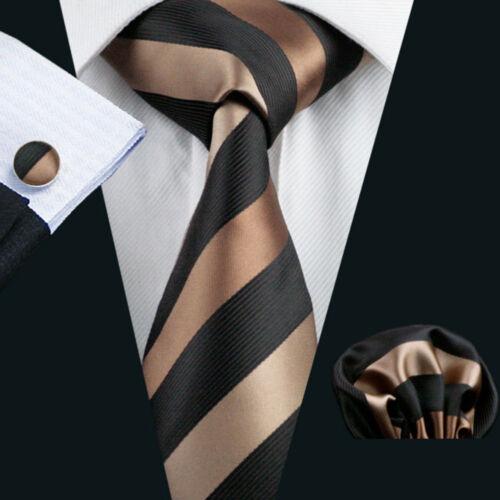 Marron Rayures Noires Fashion Party Hommes Cravate Homme Tie Set Boutons De Manchette Mouchoir