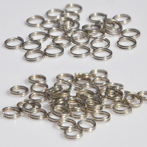 50 X Stainless Steel Split Rings Blank Lures Fishing Connector Lure Ring ZF