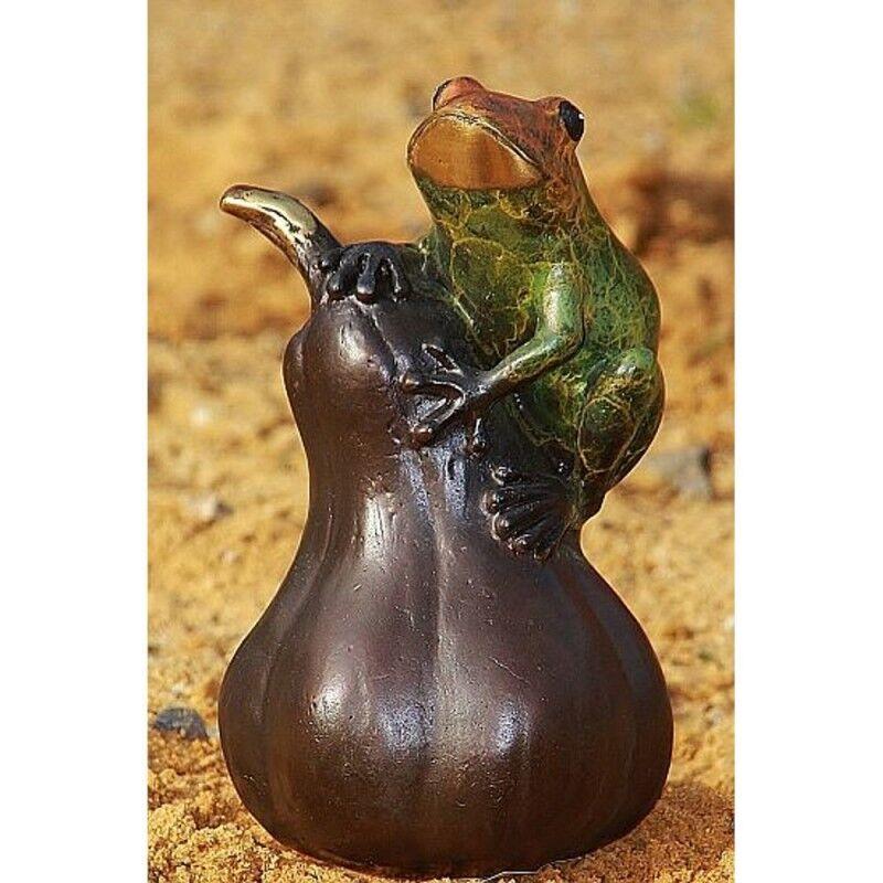 Rana SU ZUCCA Bronzo Figura Animale Figura Bronzo gelo fisso rospo Decorazione BOAN - 1298