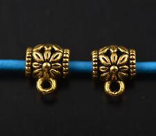 Bulk 100 Bails Flower Connectors European Golden Holder Clasp Fit 3mm Bracelet