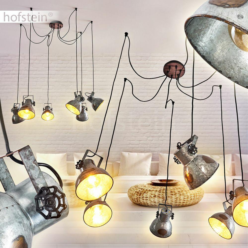 Retro Pendel Hänge Lampen Silber-Rost Ess Wohn Schlaf Zimmer Raum Beleuchtung