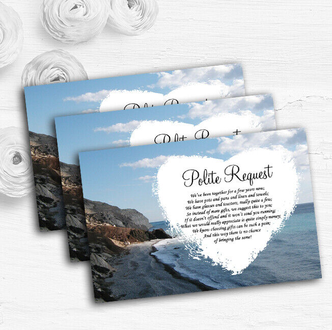 View Of A Cyprus Beach Abroad Personalised Wedding Gift Request Money Poem Cards