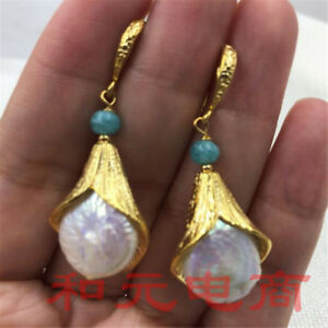 15-19MM-HUGE-baroque-pearl-earrings-18K-gold-plating-White-south-sea-natural