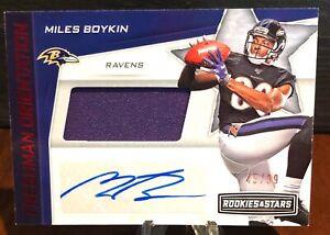 2019 Rookies & Stars Miles Boykin Auto Patch  Freshman Orientation #/99 Ravens