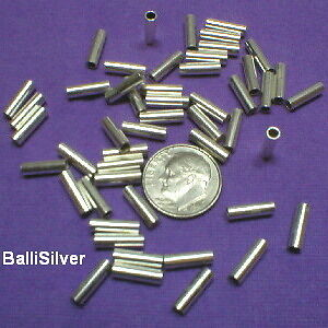 6 pcs STERLING SILVER Seamless Spacer TUBES Lot 3x10mm