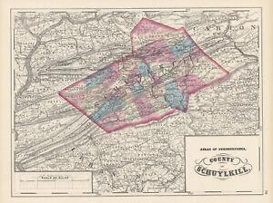 1872-Map-of-Schuylkill-County-Pennsylvania-Original