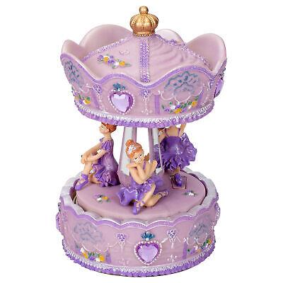 "Purple Floral Fairy Musical Carousel 6/"" Rotating Figurine Plays Carousel Waltz"