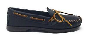 Minnetonka Mens Camp Moc 749 Slip On Loafer Shoes Black Leather Size 7.5