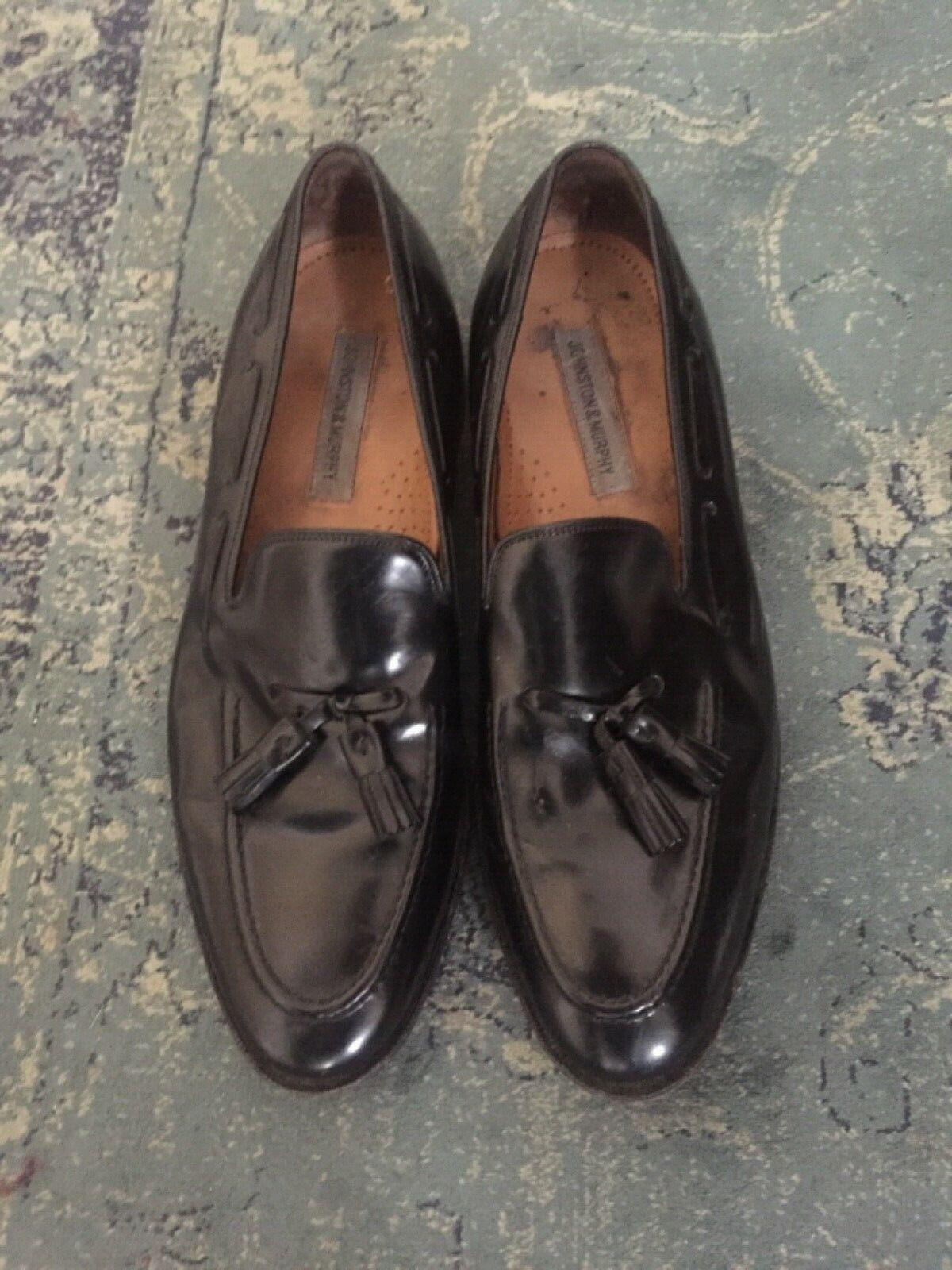 JOHNSTON & MURPHY MENS BLACK TASSEL DRESS SLIP-ON LOAFER SIZE 12D