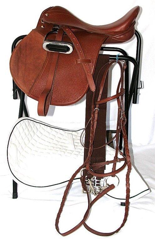 17 Pulgadas todo propósito inglés Paquete de silla de montar-Castaño-todo el cuero - 7  garganta