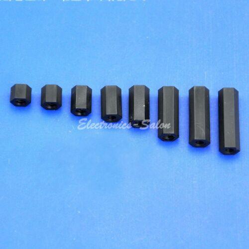 Hexagonal. M3 Black Nylon Hex Female-Female Standoff Spacer 5mm ~ 45mm