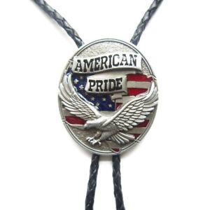 American Pride Eagle America Flag Western Cowboy Rodeo Bolo Tie