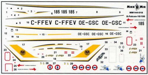 2 Kits 1//144 Mikro-Mir 144-018 Dassault Falcon 10//100 Corporate Jet Aircraft