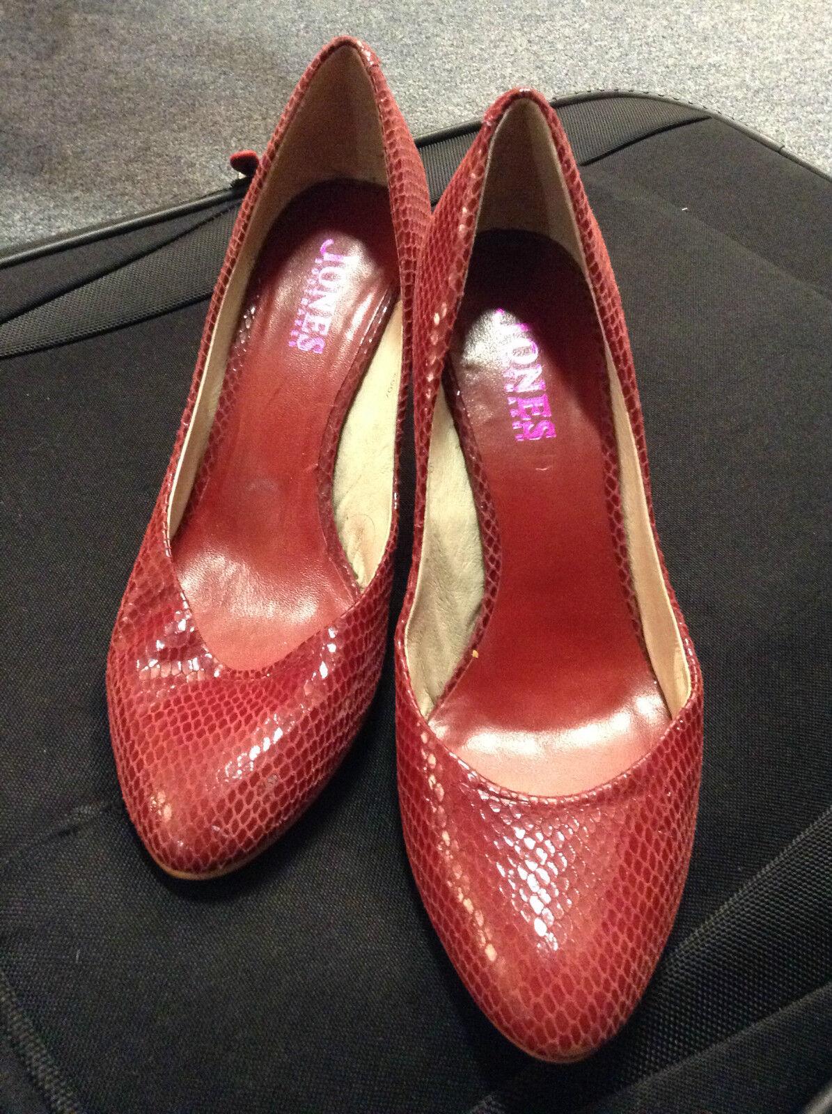 Jones BOOTMAKER Rojo Carmesí Piel De Serpiente despego Tribunal Zapatos todo el cuero