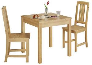 Details zu Klassische Essgruppe Tisch 2 Stühle Kiefer natur Massivholz 90.70 50 C Set 22