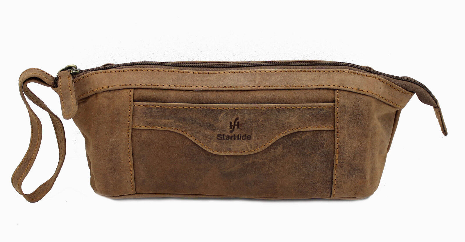 Genuine Distressed leather Stationery Pencil Case Brown