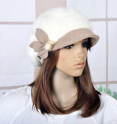 M82 Cute Rabbit Fur Wool Brim Hat Women's Winter Beanie Newsboy Cap 7-Colors