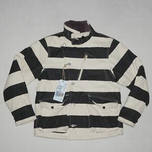 BOB-DONG-Men-039-s-Motorcycle-Prison-Striped-Patchwork-Jacket-Winter-Aviator-Coats