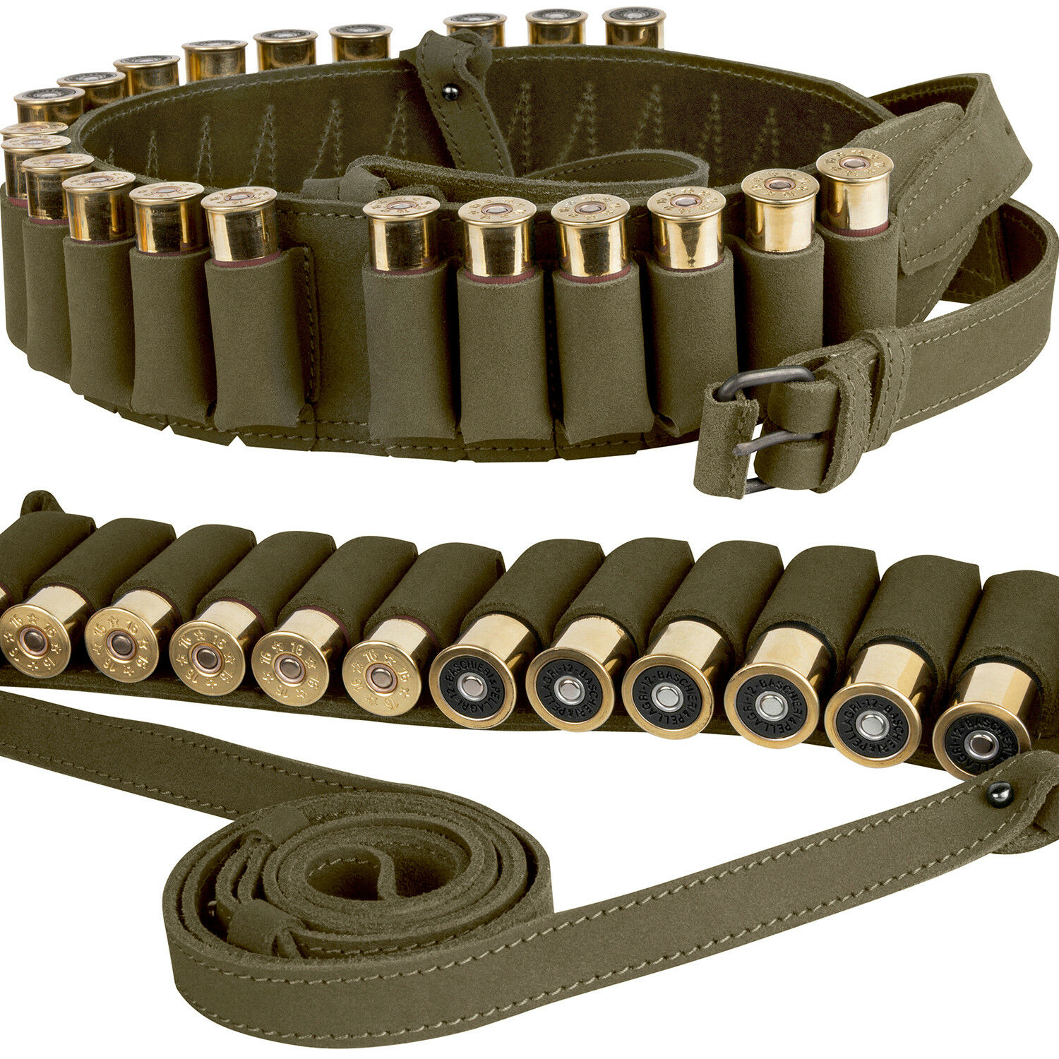 Leder Shotgun Shell Cartridge Cartridge Shell Belt Holder Case Hunting Bandolier 12 Ga d62355