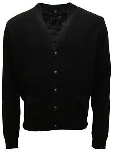 Men-039-s-Black-Waffle-Knitted-Football-Button-Front-Mod-Retro-Relco-Cardigan