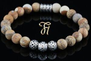 Landschafts-Jaspis-Armband-Bracelet-Perlenarmband-Silber-Beads-Buddha-8mm