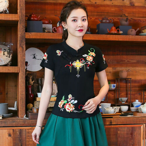 Chinese Style Women Cotton Blend Embroidery Tops Blouses Short Sleeve Shirts New