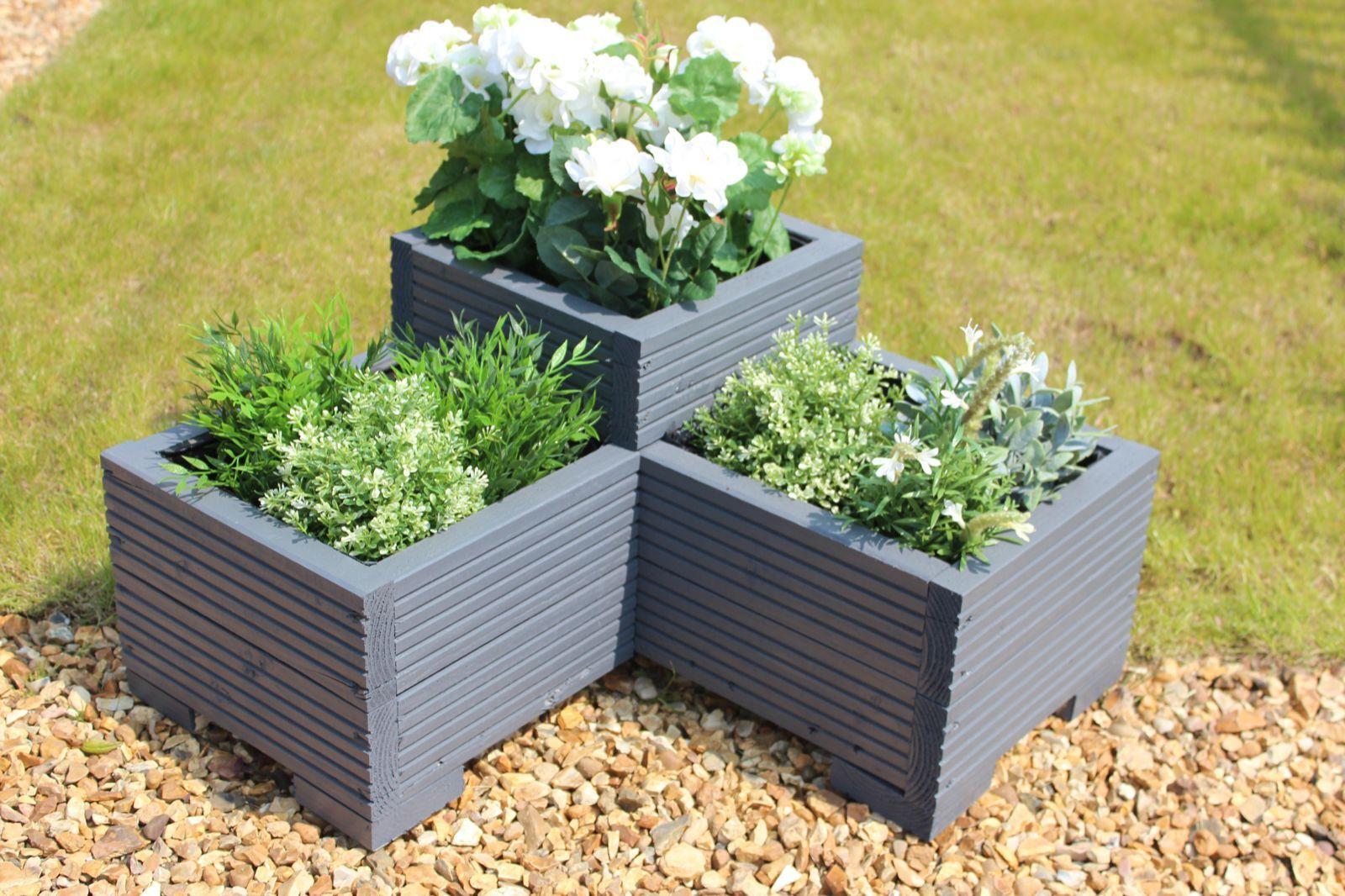 Grey 3 Tier Corner Planter Painted Wooden Garden Troughs or Plant Pots