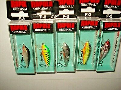 Lot of 5- Rapala Original Floating F-3 Fishing Lures--Balsa--S--G--SH--P--V