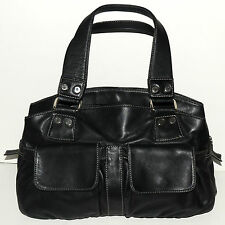 Perlina New York Soft Black Leather X-Large Satchel Tote Shoulder Bag Purse